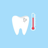 Sensitive tooth flat icon. Dental and medicine, temperature tooth vector graphics, a colorful solid pattern on a blue background, eps 10 Royalty Free Stock Photography