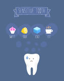 Sensitive tooth flat vector illustration Stock Photography