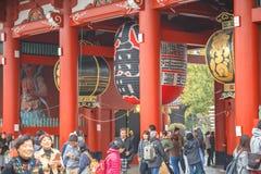 Senso籍寺庙东京,日本- 2016 11月19日,门在浅草区,在寺庙的一个主要旅游胜地,东京, Ja 免版税库存照片