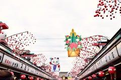 Senso籍寺庙在日本东京,有很多游人 免版税库存照片