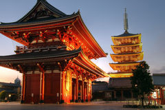 Senso-ji Temple, Asakusa, Tokyo, Japan. Hozo-mon gate and 5 stories pagoda of the Senso-ji Temple in the Asakusa district of Tokyo, Japan illuminated at sunset royalty free stock images