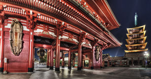 Senso-ji Temple, Asakusa, Tokyo, Japan. Wide angle view of Hozo-mon gate and 5 stories pagoda of the Senso-ji Temple, taken at night, in the Asakusa district of Royalty Free Stock Images