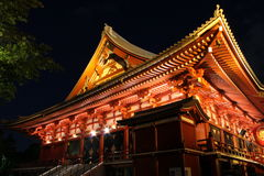Senso-ji Temple at night, Asakusa, Tokyo, Japan Royalty Free Stock Photo