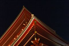 Senso-ji temple at night royalty free stock photo
