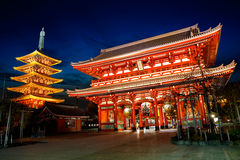 Senso-ji temple. At twilight, Tokyo Japan Royalty Free Stock Photos