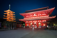 Senso-ji temple at twilight, Tokyo. Japan Royalty Free Stock Photos