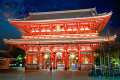 Senso-ji temple. At twilight, Tokyo Japan Royalty Free Stock Photo