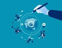 senso Mano che disegna una linea che conduce intorno al mondo al successo Illustrazione di vettore di affari di concetto illustrazione di stock