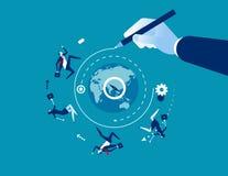 senso Mano che disegna una linea che conduce intorno al mondo al successo Illustrazione di vettore di affari di concetto illustrazione vettoriale