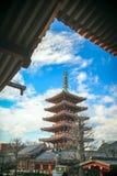 sensoji寺庙的日本塔 免版税库存图片
