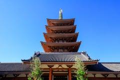 Sensoji寺庙,亦称浅草Kannon看法  最普遍为游人和它` s古庙在东京 免版税库存照片