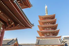 Sensoji (Asakusa) Pagoda with clear blue sky Royalty Free Stock Photo