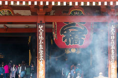Sensoji Asakusa Temple, Tokyo, Japan. Tokyo, Japan - Mar 22, 2016 - unidentified people visit sensoji temple and burn incenses full of smoke. Sensoji temple is Stock Photos