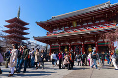 Sensoji Asakusa Temple, Tokyo, Japan. Tokyo, Japan - Mar 22, 2016 - Unidentified people visit sensoji temple. Sensoji temple is the most famous attraction in Stock Images