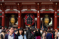 Sensoji Asakusa Temple, Tokyo, Japan. Tokyo, Japan - Mar 22, 2016 - unidentified people visit sensoji temple. Sensoji temple is the most famous attraction in Royalty Free Stock Image
