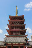 Sensoji Buddhist temple, Tokyo, Japan. Tokyo, Japan - April 16, 2013:  The ornate five-story pagoda at Sensoji Temple in the Asakusa district of Tokyo. Sensoji Stock Images