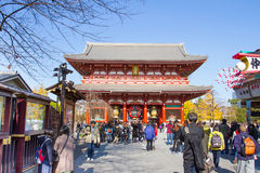 Sensoji buddhist temple tokyo Japan. TOKYO, JAPAN - DECEMBER 7, 2015: Tourists walking around the most famous Sensoji buddhist temple in Asakusa,Tokyo Japan Stock Photos