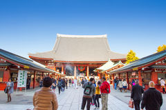 Sensoji buddhist temple tokyo Japan. TOKYO, JAPAN - DECEMBER 7, 2015: Tourists walking around the most famous Sensoji buddhist temple in Asakusa,Tokyo Japan Stock Image