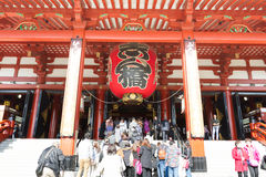 Sensoji buddhist temple tokyo Japan. TOKYO, JAPAN - DECEMBER 7, 2015: Tourists walking around the most famous Sensoji buddhist temple in Asakusa,Tokyo Japan Royalty Free Stock Photo