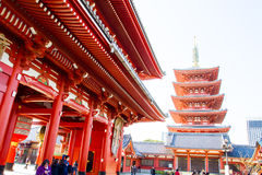 Sensoji buddhist temple tokyo Japan. TOKYO, JAPAN - DECEMBER 7, 2015: Tourists walking around the most famous Sensoji buddhist temple in Asakusa,Tokyo Japan Stock Photo