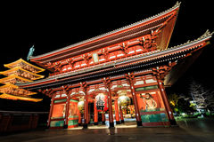 Sensoji-ji Czerwona Japońska świątynia w Asakusa, Tokio Zdjęcie Stock