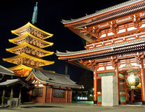 Sensoji shrine in Tokyo. Senjoji is most Tokyo's most famous Buddhist temple, is located in Asakusa, close to Sumida river. Foreground we can see Hozomon main Stock Photo