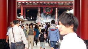 Sensoji Temple Tokyo Japan. Time Lapse of People at Sensoji Temple - Tokyo Japan stock footage