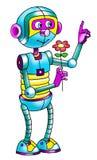 Sensor automático do cyborg do robô dos desenhos animados do desenho ilustração do vetor