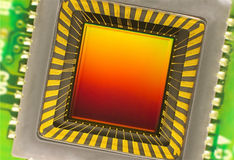 Sensor CCD op een kaart Stock Fotografie