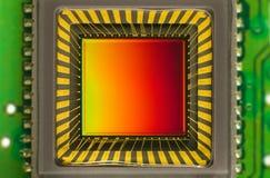 Sensor CCD op een kaart Stock Foto