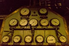 Sensor control panel with retro dials. In the engine room of an ice breaker stock images