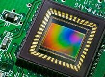 Sensor del CCD en una tarjeta Imagenes de archivo