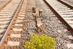 Sensor-Einheiten zwischen Railwaay Spuren stockfoto