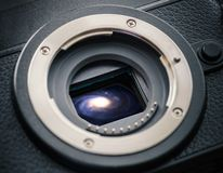 Sensor with galaxy. Sensor of a mirrorless camera with galaxy. Concept photo royalty free stock images