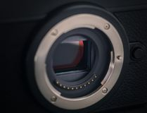 Sensor of a mirrorless camera. Selective focus royalty free stock photos