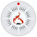 Sensor security and fire alarms. Flame sensor on a background of fire alarm. Illustration on white background Stock Photography