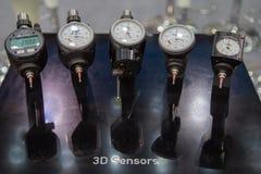 sensores 3d e dispositivos centrando-se foto de stock
