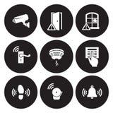 Sensores de la seguridad en el hogar e iconos del equipo fijados foto de archivo libre de regalías