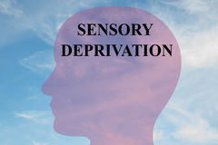 Sensory Deprivation - therapeutical concept. Render illustration of SENSORY DEPRIVATION title on head silhouette, with cloudy sky as a background royalty free illustration