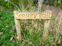 Sensory trail. Signage at the sensory garden in rushcliffe country park,  Nottinghamshire Stock Photo