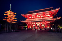 Sensouji temple. Senso-ji temple at twilight, Tokyo Japan Royalty Free Stock Photo