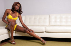 Sensual African American in Couch Royalty Free Stock Photo