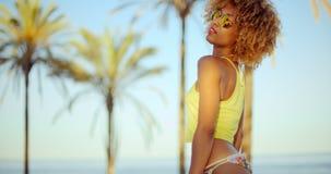 Sensual Afro American Girl Posing on The Beach stock footage