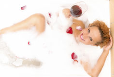Sensual Alluring Caucasian Blond Female in Foamy Bathtub Royalty Free Stock Images