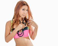 Sensual asian woman with stethoscope Royalty Free Stock Photos
