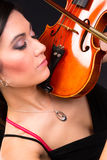 Sensual Attractive Brunette Woman Playing Concert Acoustic Stock Images