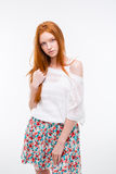Sensual attractive young female with beautiful long red hair Stock Photography