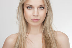 Sensual beautiful blond girl. Attractive sensual beautiful blond girl, clean skin Royalty Free Stock Images