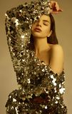 Sensual beautiful brunette woman in a shiny fashion dress of sequins Stock Images