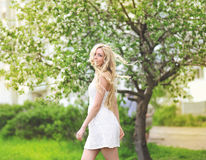 Sensual beautiful girl blonde. In summer Royalty Free Stock Photography